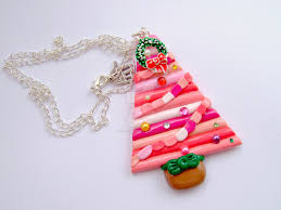 handmade polymer clay christmas tree necklace by glitteramacrafts
