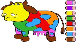 cow coloring pages for kids and learn colors youtube