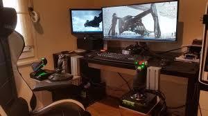 desks for gaming consoles hotas joystick table mount monster tech