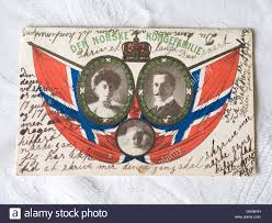 vintage postcard of the norwegian royal family after the