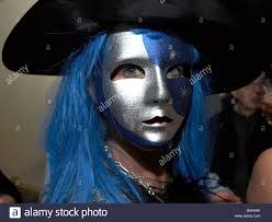 witch with blue hair halloween party london uk europe stock photo