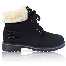 womens fur boots uk womens lace up collar fur lined winter warm ankle boot size