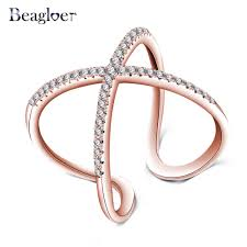 aliexpress buy beagloer new arrival ring gold beagloer rosa color oro x shape anelli di design con pavimenta