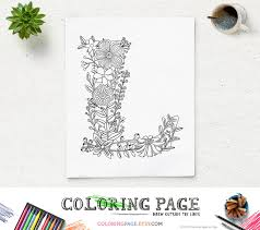 floral alphabet printable coloring letter instant