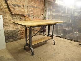 Industrial Drafting Table Custom Stand Up Industrial Drafting Table With Oak Top By