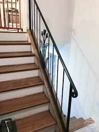 Oak Stair Banister How To Install A Wooden Handrail On Split Level Stairs Lemon Thistle