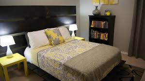 Yellow Grey And White Bedding Lavender Wooden Bed With White Bedding Black Wooden Floor With