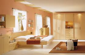 beige bedroom interior ideas with marvelous wood platform bed and