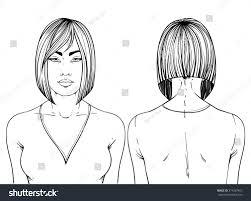fashion illustration haircut angled bob hand stock vector