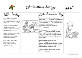 10 free esl christmas carols worksheets