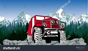 jeep cartoon offroad vector 4x4 vehicle offroad car mountains stock vector 264036137