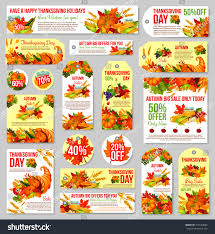 thanksgiving day sale tag set autumn stock vector 719154082