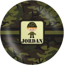 personalized melamine platter green camo melamine plate personalized potty concepts