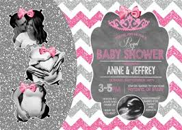 pink and silver baby shower chevron print princess baby shower invitations glitter princess