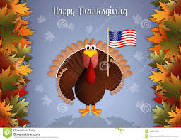 turkey with american flag for thanksgiving stock illustration