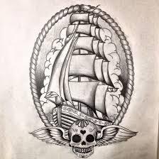 grey nautical ship and winged sugar skull tattoos sketch