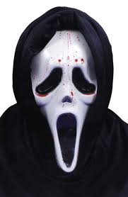 scream mask with blood and pump masks