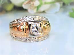 mens old rings images Art deco diamond ring 0 40ct old cut diamond antique unisex JPG