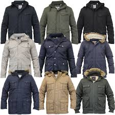 mens parka style jacket soul star coat padded quilted hooded faux