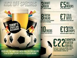 Sports Bar Menu Templates football soccer sports bar promotion flyer menu by christos
