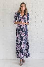 jolene floral navy blue maxi wrap dress bella ella boutique online