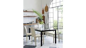 Crate And Barrel Dining Table Parsons Clear Glass Top Dark Steel Base 48x28 High Dining Table