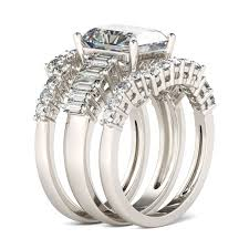 ring set 3pc radiant cut sterling silver ring set jeulia jewelry