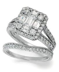 macy s wedding rings sets emerelle collection emerald and cut ring set in 14k