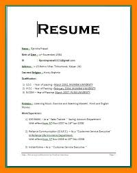 resume format for customer service executive simple resume format for freshers in ms word svoboda2 com