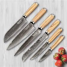 damascus kitchen knives sunnecko 6pcs damascus kitchen knife set japaness vg10 steel santoku