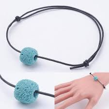 bracelet beads leather images Sky blue leather lava bead aromatherapy diffuser scent bracelet JPG
