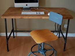 Wood Computer Desk Small Custom Butcher Block Computer Desk Top With Black Iron Legs