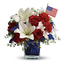 Red Flag White Flower America The Beautiful By Teleflora In Grand Prairie Tx Vivid