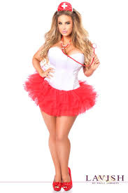 nurse halloween costume party city red white nurse corset costume 4pc plus size