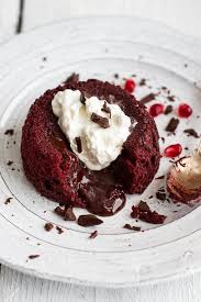 red velvet molten chocolate lava cakes with chocolate ganache