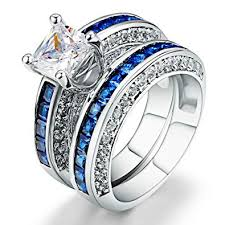 sapphire wedding rings images Amiery women 18kgp princess cut cz blue sapphire jpg