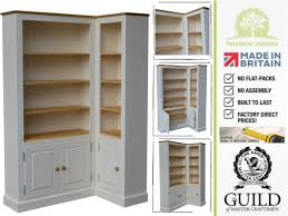 wood corner bookcase traditional corner display unit 6ft painted u0026 waxed shelving with