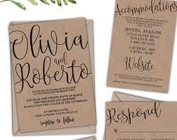 kraft paper wedding invitations kraft wedding invite etsy