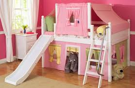 girly bedroom ideas with pink loft children bed using slide and