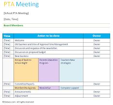 professional pta meeting agenda template agenda templates