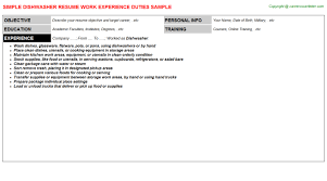 Sample Resume For Dishwasher by Dishwasher Cover Letters