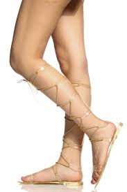 gold jelly lace up knee high sandals cicihot sandals shoes