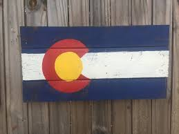 Reclaimed Wood Flag Colorado State Flag Recycled Pallet Sign Gift Reclaimed Wood