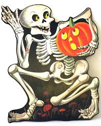 vintage halloween decorations reproductions 1966 dennison u0027skeleton u0027 die cut decoration three sizes 6 3 4