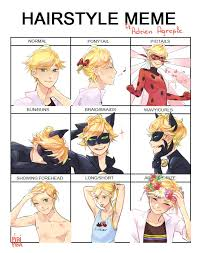 Meme Hairstyles - hairstyle meme featuring adrien miraculous ladybug h