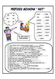 english teaching worksheets prefixes