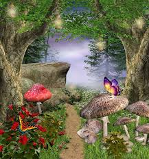 Mystical Forest Mural Nature Mural Enchanted Nature Series Enchanted Pathway Stock Photo Picture