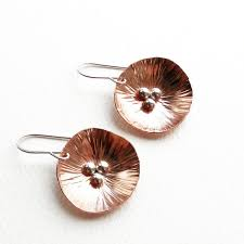 poppy earrings copper poppy earrings large steward