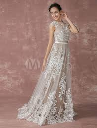 illusion neckline wedding dress lace wedding dress 2 pieces bridal gown lace shrug illusion