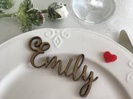 wooden laser cut names wedding table place custom name place